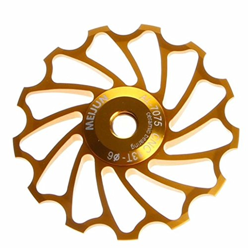Bicycle pulley wheel ,Tuscom@ 13T MTB Ceramic Bearing Jockey Wheel Pulley Road Bike Bicycle Rear Derailleur (Gold)