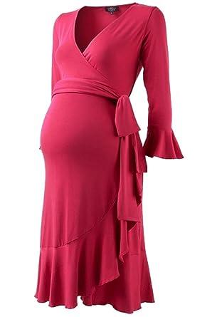 94b51c9deb06b Isabella Oliver Ruffle Wrap Maternity Dress (5 (US Size 12-14), Pink Rose)  at Amazon Women's Clothing store: