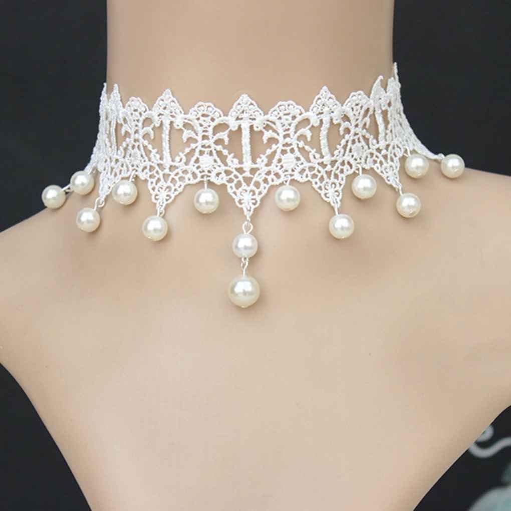 LORSOUL Frauen Spitze Perlen Ketten Anh/änger Halskette Gotik f/ür Hochzeit