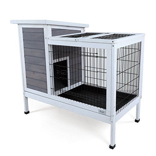 (Petsfit Wood Rabbit Cage with Deeper Removable Tray, 1-Year Warranty)