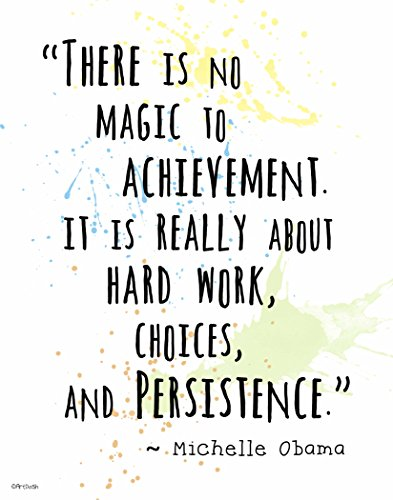 (Watercolor Splatter Art Print ~ MICHELLE OBAMA Inspirational Quote: 'Achievement.' (11
