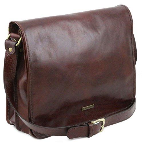 2 Borsa Messenger Grande Marrone Scomparti Leather 1 Tuscany A Tl Testa Tl141254 Di Moro Tracolla Misura qTxCWwYU