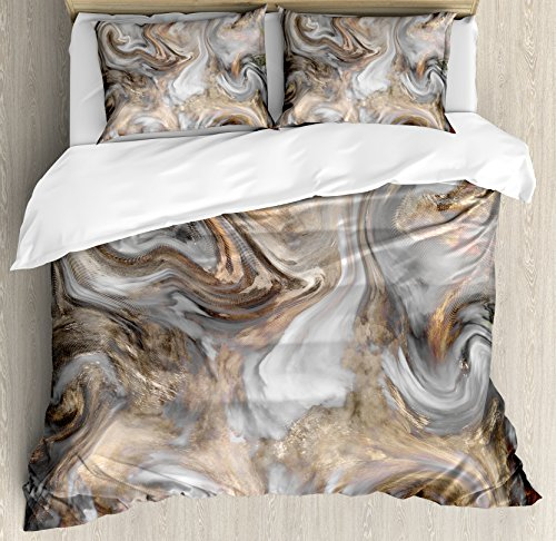 Ambesonne Marble Duvet Cover Set King Size, Retro Style Paintbrush Colors in Marbling Texture Watercolor Artwork, Decorative 3 Piece Bedding Set with 2 Pillow Shams, Sand Brown Dust Light (3 Piece Set Headboard)