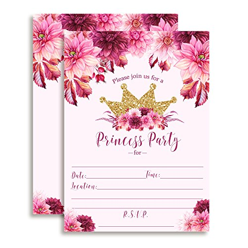 Watercolor Floral Princess Birthday Party Invitations with Pink and Burgundy Dahlias and Gold Glitter Crown, 20 5