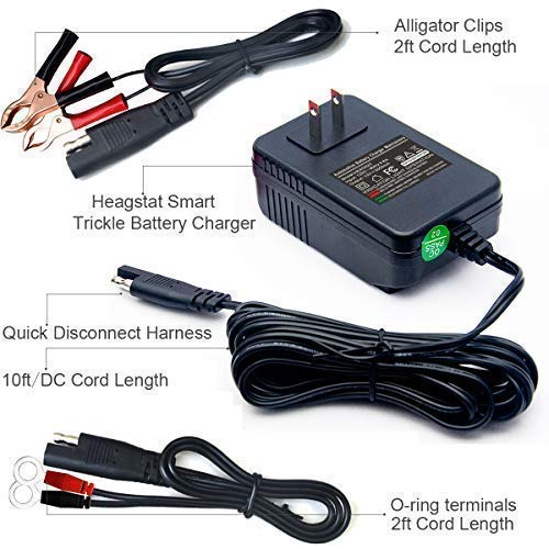 Heagstat 12V 2000mA Acid/Lithium Charger for Lawn ATV SLA AGM GEL and