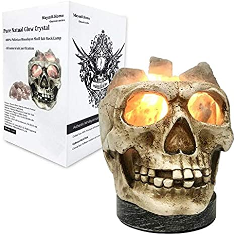Amazon Com 3d White Gray Grey Black Himalayan Salt Lamp Lights Tatoo Halloween Skull Carved Statue Lamp Night Light With Himalayan Gray White Salt Chunks Dimmer Switch Control With 1 Salt Candle Holder