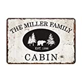Personalized Vintage Distressed Look Cabin Metal Room Sign