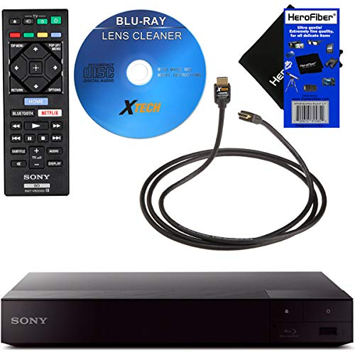 Sony BDPS6700 4K-Upscaling Blu-ray DVD Player with Super Wi-Fi + Remote Control, Bundled with Xtech Blu-ray Maintenance Kit + Xtech High-Speed HDMI Cable with Ethernet + HeroFiber Cleaning - Ray Tv Smart Player Blu