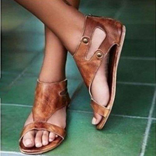 Féminines Romaines Grandes Café Rivet Sandales Femmes Plates En Chaussures Cuir K1J3TFlc