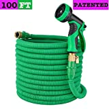 Elite4 100ft Expandable Garden Hose, Leakproof Patent Connector Flexible Water Hose, 3/4'' Solid Brass Fittings -No-Kink, 9 Function Spray Included