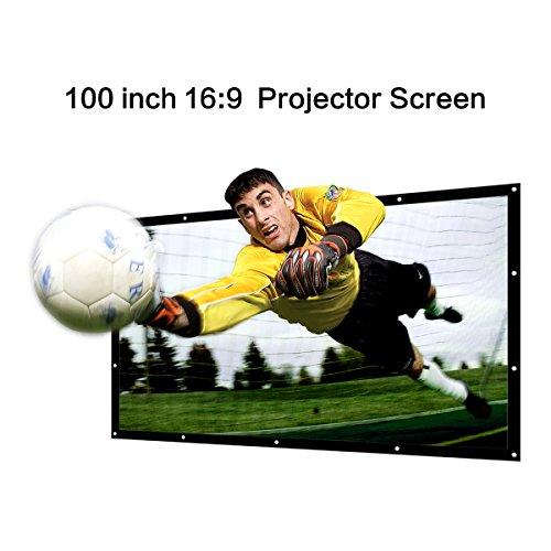 Mileagea 100 inch 16:9 Projector Screen Portable Projection Screen Outdoor PVC Fabric Widescreen Home Cinema