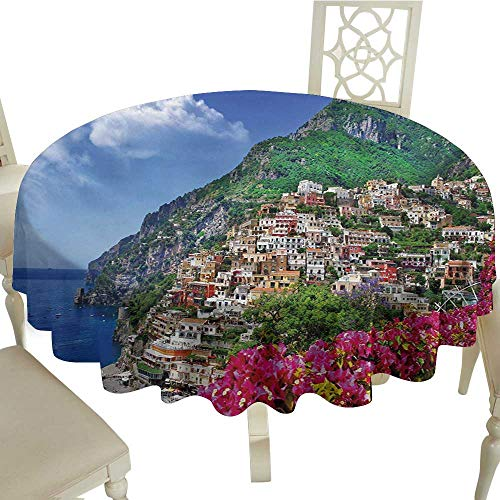 Bar Amalfi Table Outdoor (cobeDecor Elegant Waterproof Spillproof Polyester Fabric Table Cover Italy Scenic View of Positano Amalfi Naples Blooming Flowers Coastal Village Image D54 Pink Green Blue)