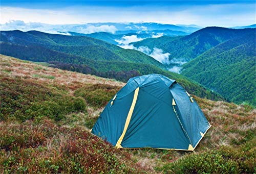 GoEoo 7x5ft Mountain Top Camping Scene Vinyl Photography Background Grassland Tent Green Mountains Fogs Backdrop Camping Amateur Expedition Team Shoot Outdoors Shop Wallpaper Studio Props