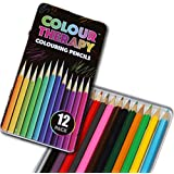 Colour Therapy Anti Stress Full Length Multi-Colour Colouring Pencils in Tin Box - 12 Piece by Guaranteed4Less