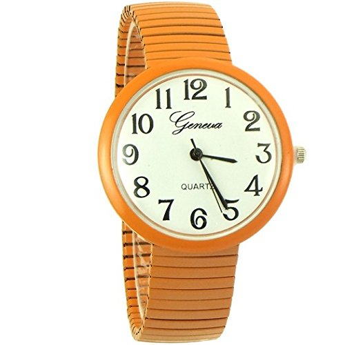Geneva medium case watch dress style stretch band for orange - 6