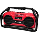 Pyle Industrial BoomBoX Bluetooth Stereo Speaker, Rugged Water-Resistant Radio Boom Box, Rechargeable Battery, MP3/USB/SD/AUX-Red