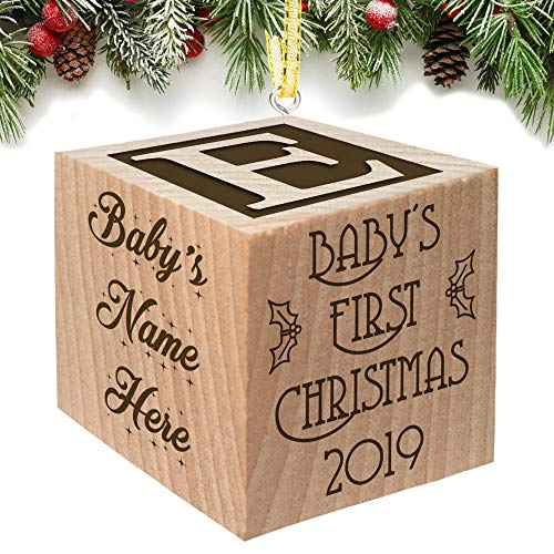 Baby's First Christmas Ornament 2019 Keepsake Personalized Baby Block Custom Engraved Wooden My First for Newborn Infant Boy, Girl, Mom, Dad, Grandparent 2018 1st Gift Date by Glitzby