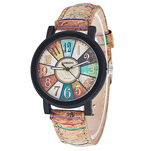 Auntwhale Analog Quartz Watch Wood Grain Leather Band Watch Cathedral Glass Color Turntable pattern wrist watch