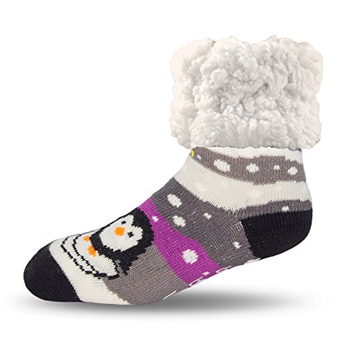 Pudus penguin grey adult regular cozy winter classic slipper socks with grippers