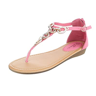 Ital-Design Zehentrenner Damen-Schuhe Peep-Toe Zehentrenner Reißverschluss Sandalen/Sandaletten Rosa, Gr 38, N1160-3-