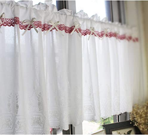 Cortinas de algodón, diseño bordado, media cortina/panel de cortina de café/ cortina corta de cocina/1 unidad: Amazon.es: Hogar
