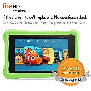 """Fire HD 6 Kids Edition Tablet, 6"""" HD Display, Wi-Fi, 16 GB, Green Kid-Proof Case"""