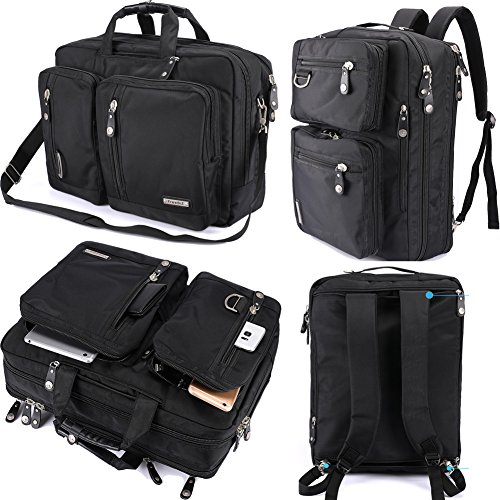 (FreeBiz Laptop Bag Convertible Backpack Business Briefcase Messenger Bag for 17.3 Inch Laptop Computer Notebook MacBook Chromebook for Men Women Students(Black))