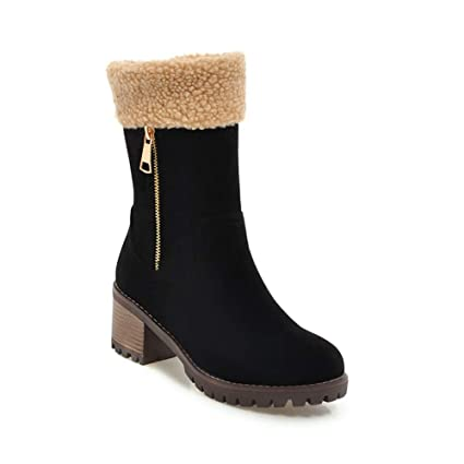 19337e9b658 Amazon.com: DETAIWIN Womens Mid Calf Boots Platform Zip Low Heel ...