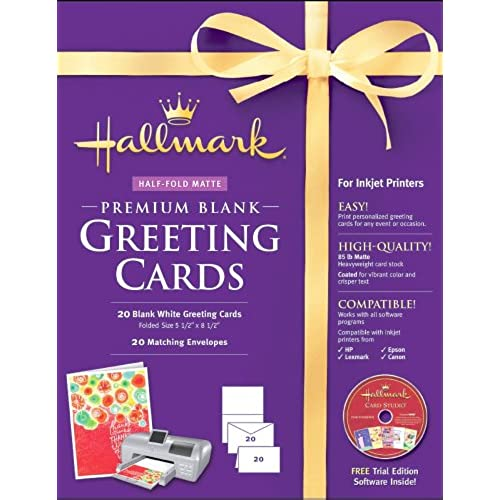 Hallmark Blank Greeting Cards Half-fold Matte Premium 20 Count Sales