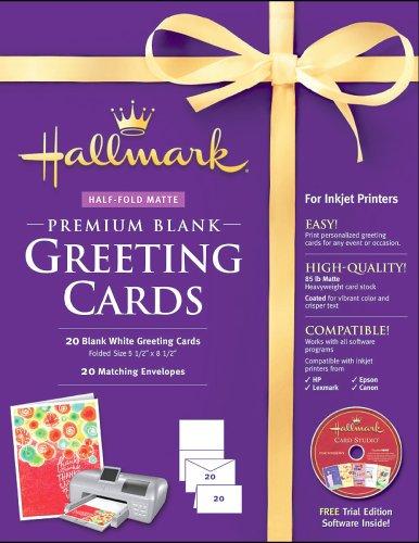 Hallmark Blank Greeting Cards Half-fold Matte Premium 20 Count by Nova Development US