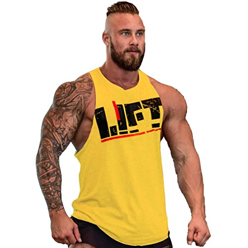 Sport Bodybuilding Muscle Fitness Tank Jogging Mens shirt Jaune Top Gymnase Workout Blouse T qFfnwWg8X