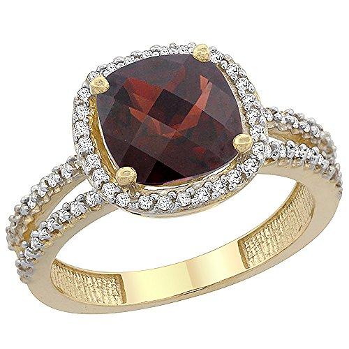 Cushion Cut Garnet Ring (14K Yellow Gold Natural Garnet Ring Cushion-cut 8x8 mm 2-row Diamond Accents, size 9)