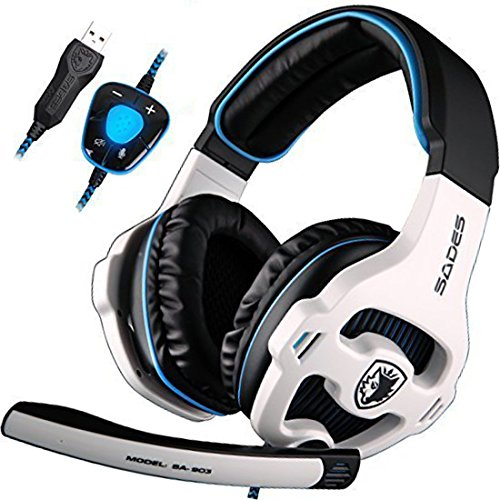SADES SA903 7.1 Channel Surround Stereo Noise Canceling LED Light USB Wired Over Ear PC Gaming Headset with Mic - White