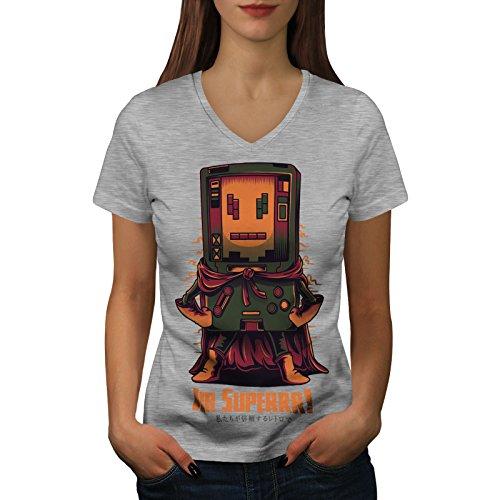 wellcoda Super Hero Console Womens V-Neck T-Shirt, Boy Cool Casual Design Tee Grey -