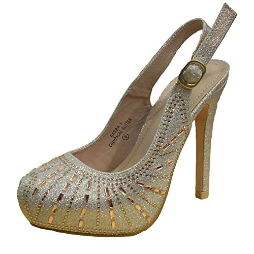 Bella Marie Femmes Barba-1 Strass Plateforme Fronde Chaussures Dos Champagne