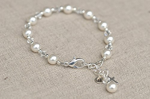 Bracelet-Swarovski Crystals and Pearls, Silver accents, Personalize with Birthstone Charms and Initials - Pearl Initial Bracelet