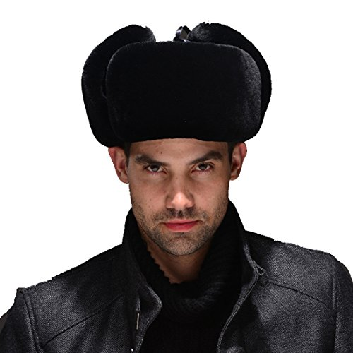 URSFUR Mouton Sheepskin & Leather Russian Ushanka Hat (One Size, Black) by URSFUR