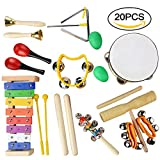 20PCS Kids Musical Instruments Percussion Toy,Toddlers Percussion Toys,Wooden Rhythm Band Set,Included Maracas/Shaker Eggs/Wrist Bells/Hand bells/Triangle/Rhythm Band/Drum for Kids, Toddler, Children