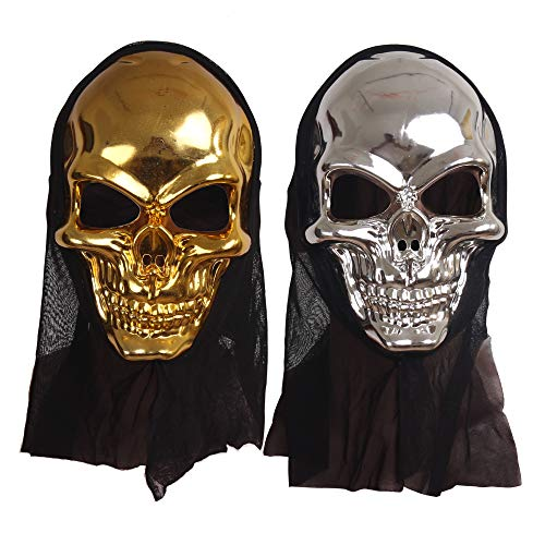 Silver Mask For Halloween (2 Pack Deluxe Novelty Halloween Masks Costume Party Props Latex Masks First and)