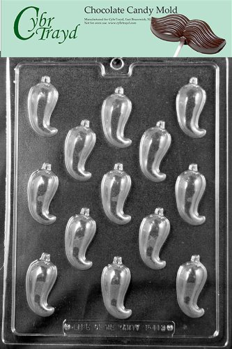 Cybrtrayd Life of the Party F113 Chili Pepper Vegetable Chocolate Candy Mold in Sealed Protective Poly Bag Imprinted with Copyrighted Cybrtrayd Molding Instructions