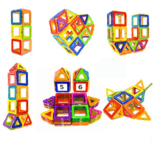 Soyee Magnetic Blocks- STEM Educational Toys Learning Construction Magnetic Building Blocks Tiles Set for 3,4 and 5+ Year Old Boys & Girls Creative Fun Kit Magnet Toys Gift for Kids-56pcs