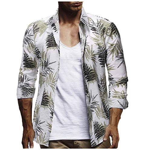 JJLIKER Men's Button Down Long Sleeve Hawaiian Shirt Floral Print Tops Summer Holiday Beach Party Aloha Tee Shirts White