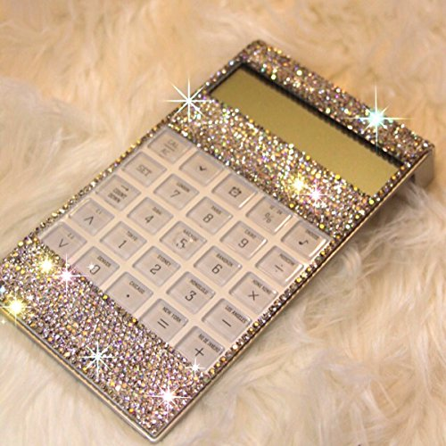 TISHAA Luxury Bling Bling Clear Diamond Crystal Decorative Office Calculator for Great GIFT (White - Calculator Face Perfect