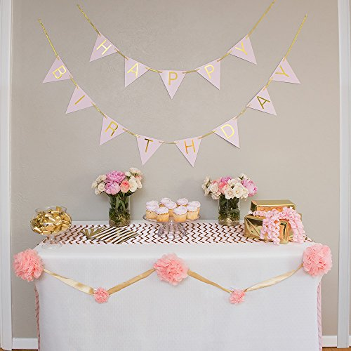 The Madynn Happy Birthday Bunting Banner, Pastel Pink