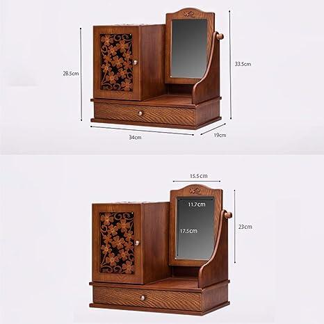 CláSico Tallado Joyero De Madera Joyero Joyero Caja CosméTica Almacenamiento De Joyas Gran Capacidad Con Espejo De Maquillaje Hd: Amazon.es: Hogar