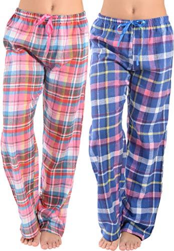 (Womens Super Soft Flannel Plaid Pajama Pants-2 Pack (Aqua Red & Blue Plaid, Large))