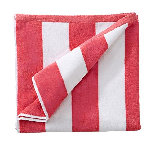 Supreme Plush Blanket - Great Bay Home 100% Cotton Plush Cabana Stripe Oversize Velour Beach Towel (40x70). By Brand. (Pink)
