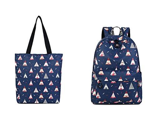 dos d'impression mignon collège Blue Winnerbag portable bleu Chambre capacité imperméable femmes motif Fashion filles set 14 sac haute à de Bookbags ensemble pouces q4IP0w