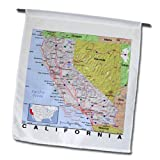 3dRose fl_184562_1 Print of California Cities and State Map Garden Flag, 12 by 18-Inch