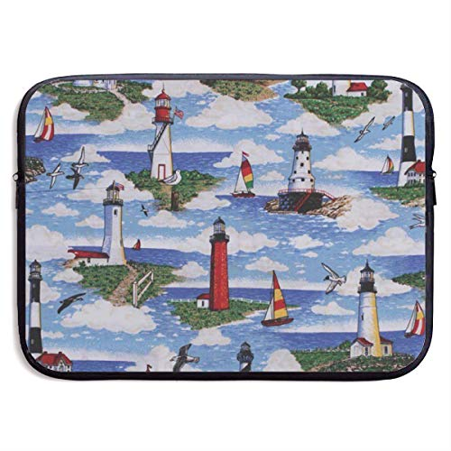 (LiaanQianga Lighthouses Scene Big Sable 13-15 Inch Laptop Sleeve Bag - Tablet Clutch Carrying Case,Water Resistant, Black)